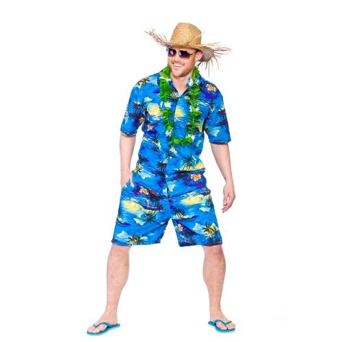Mens Hawaiian Party Guy Costume for Tropical Beach Fancy Dress